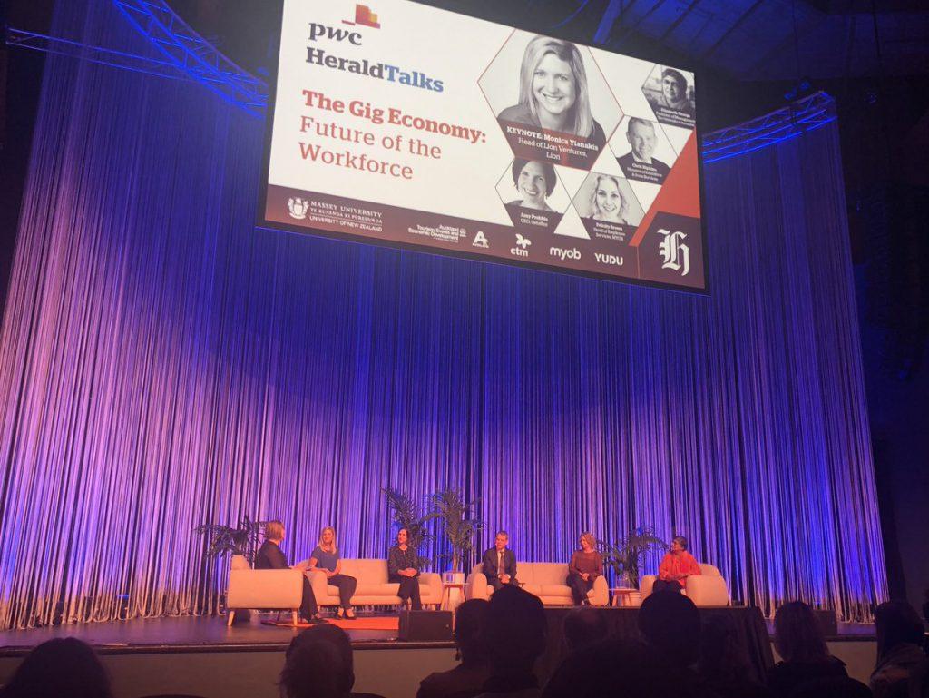 PWC Herald Talks Gig Economy panel on stage